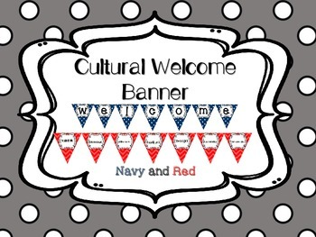 Multi-Cultural Pennant Banner in Navy Blue and Red