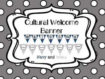 Multi-Cultural Pennant Banner in Navy Blue and White