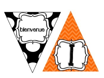 Multi-Cultural Pennant Banner in Orange and Black