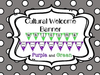 Multi-Cultural Pennant Banner in Purple and Green