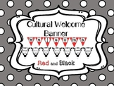 Multi-Cultural Pennant Banner in Red and Black