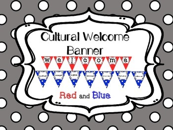 Multi-Cultural Pennant Banner in Red and Blue