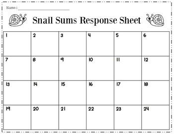 Snail Sums - Multi-Digit Addition  {2 & 3 digit addends}