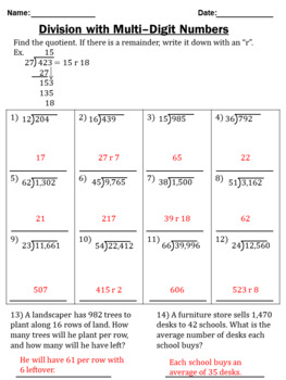 Multi-Digit Division Worksheets