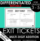 Multi-Digit Addition Exit Tickets - Differentiated Quick C