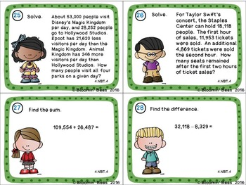 Multi-Digit Addition & Subtraction Task Cards