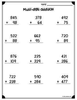 Multi Digit Addition Subtraction Worksheets 3 Nbt A 2 4 Nbt B 5