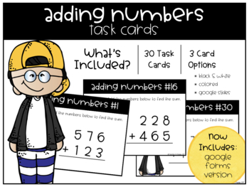 Adding Numbers Task Cards