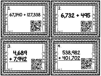 Multi-Digit Addition Task Cards [QR Codes]  4NBT4