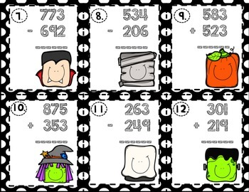 3 Digit Addition and Subtraction- Spooky