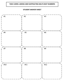 Multi-Digit Addition and Subtraction Task Cards