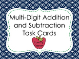 Multi-Digit Addition and Subtraction Task Cards (Apple theme)