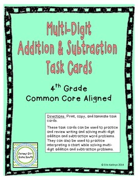 Multi-Digit Addition and Subtraction Task Cards- Set of 20
