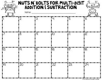 3 Digit Addition and Subtraction-(Nuts N' Bolts)