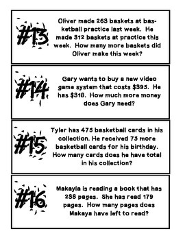 multidigit addition and subtraction word problem  task cards and  multidigit addition and subtraction word problem  task cards and  worksheets