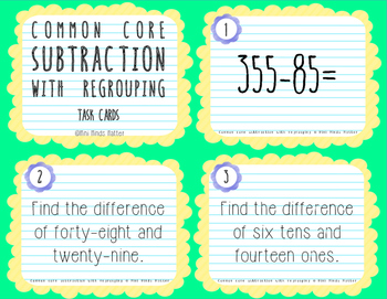 Multi-Digit Common Core Subtraction Task Cards with Regrouping