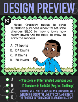 5.NBT.6 Task Cards ★ Multi-Digit Division Word Problems for Google Classroom