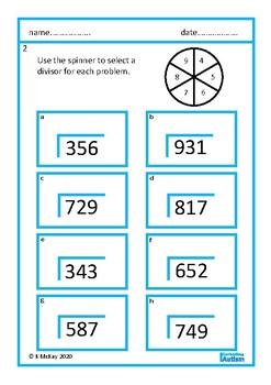 Multi Digit Division Worksheets Autism Special Education