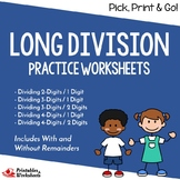Multidigit Division Worksheets, Long Division Project Practice Sheets