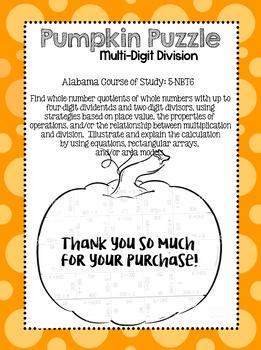 Multi-Digit Division Pumpkin Puzzle