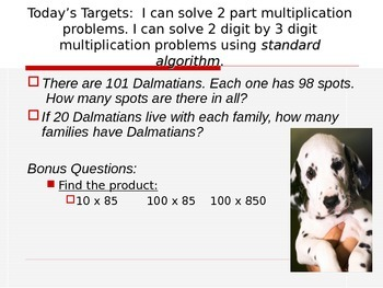 Multi-Digit Mulitplication Story Problems Entry Task PowerPoint Slides