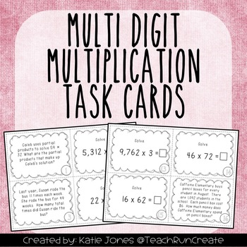 Multi-Digit Multiplication 4.NBT.2.5 Task Cards {set of 28}