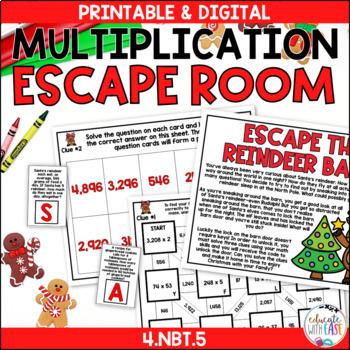 Multi-Digit Multiplication 4.NBT.5 CHRISTMAS ESCAPE ROOM
