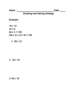Multiplication Doubling And Halving Teaching Resources Teachers Tripling And Thirding Multiplication Multi Digit Multiplication 5 Nbt 5 Doubling And Halving Strategy