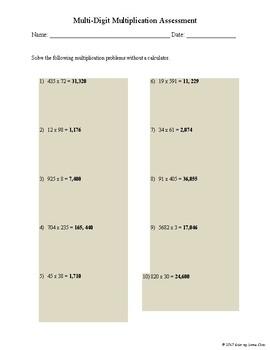 Multi-Digit Multiplication Assessment