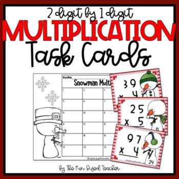 Multi Digit Multiplication Bundle - Snowman Theme