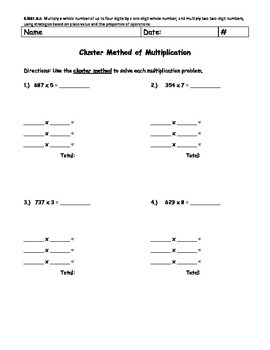 Multi-Digit Multiplication (Cluster Method)