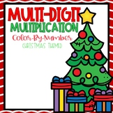 Multi-Digit Multiplication Color-By-Number Christmas Themed
