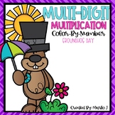 Multi-Digit Multiplication Color-By-Number GroundHog Themed