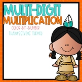 Multi-Digit Multiplication Color-By-Number Thanksgiving Themed