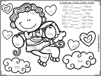 Multi-Digit Multiplication Color-By-Number Valentine Themed