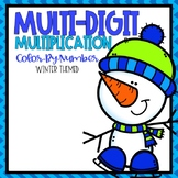 Multi-Digit Multiplication Color-By-Number Winter Themed