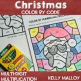 Multi Digit Multiplication Color by Number Christmas Math
