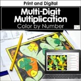 Multi-Digit Multiplication Color by Number, St. Patrick's Day Version