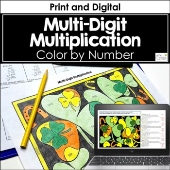 Multi-Digit Multiplication Color by Number, St. Patrick's