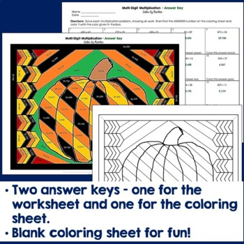 Multi-Digit Multiplication Color by Number (fall theme)