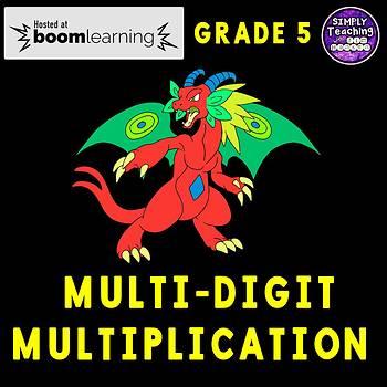 Multi-Digit Multiplication Digital Boom Cards task cards Grade 5
