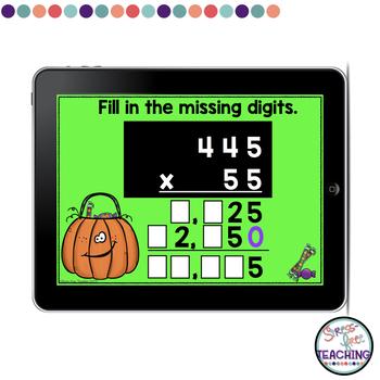 Multi-Digit Multiplication Digital Task Cards Halloween Themed