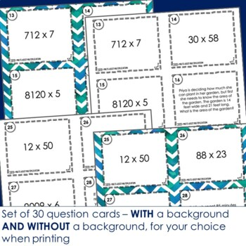 Multi-Digit Multiplication Task Cards -Footloose Math Game