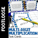 Multi-Digit Multiplication Task Cards -Footloose Math Game