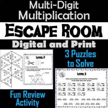 Multi-Digit Multiplication Game: Escape Room Math