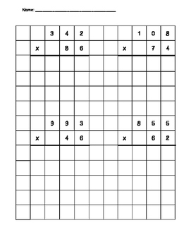 Multi-Digit Multiplication Grid Practice