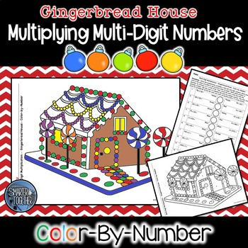 Multi-Digit Multiplication Color by Number - Gingerbread Math