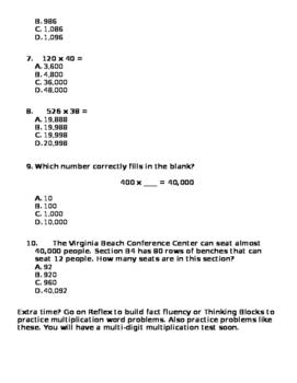 Multi-Digit Multiplication Homework 3