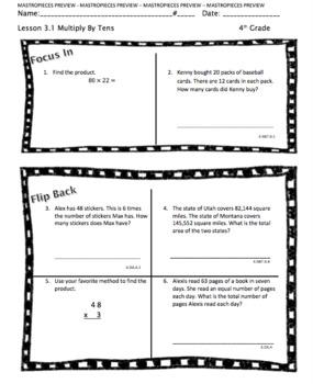 Multi-Digit Multiplication Homework (Chapter 3)
