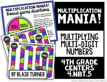 Multi-Digit Multiplication Mania Game: 4th Grade Math Centers 4.NBT.5